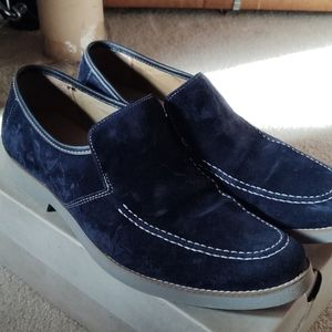 Suede navy loafers